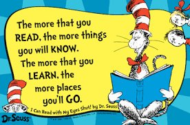 """Cat in the Hat Picture with the saying """"The more that you read, the more things you will know. The more that you learn, the more places you'll go."""